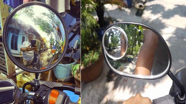 Lắp đặt gương cầu lồi vào kính chiếu hậu xe máy